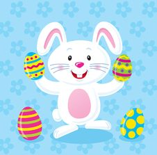 White BBunny HHolding Easter Eggs Stock Photos