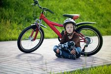 Free Happy Boy Cycling At The Park Stock Photos - 36654073