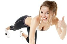 Free Happy Athletics Woman Thumbs Up Show. Royalty Free Stock Photos - 36655138