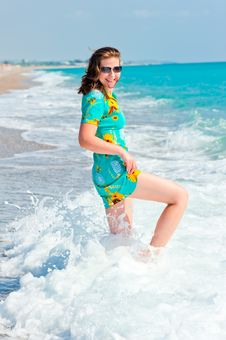 Beautiful Woman And Sea Depths Stock Photography