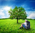 Free Tourist And Apple-tree Royalty Free Stock Photo - 36662245