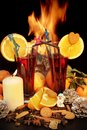 Free Glasses Of Red Mulled Wine And Flames In Background Royalty Free Stock Photography - 36665357