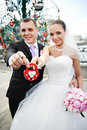 Free Happy Bride And Groom With A Padlock Stock Photos - 36668523