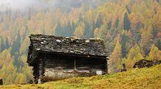 Free Alps Autumn Landscape And Hut Stock Photo - 36660540