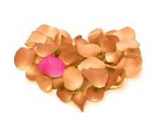 Free Rose Petals In A Form Of Heart Shape Royalty Free Stock Image - 36660666