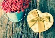 Free Heart Shaped Gift Box With Flower. Stock Photo - 36661500