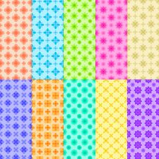 10 Colorful Flower Patterns Royalty Free Stock Images