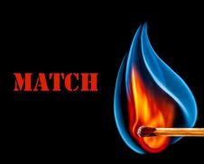 Free Match Is Burning On Black Background Stock Photo - 36665110