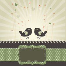 Free Retro Image With Birds In Love Royalty Free Stock Images - 36666779