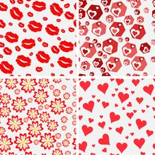 Free Set Of Seamless Love Patterns. Royalty Free Stock Photos - 36667298
