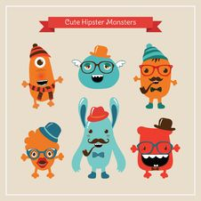 Free Vector Cute Retro Hipster Monsters Set Royalty Free Stock Photography - 36667657