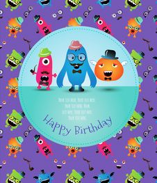 Free Hipster Monster Birthday Card. Vector Illustration Royalty Free Stock Photography - 36668287