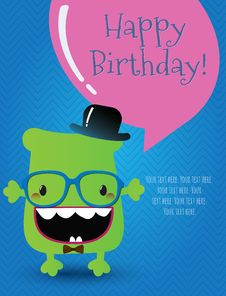 Free Hipster Monster Birthday Card. Vector Illustration Royalty Free Stock Photography - 36668387