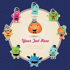 Free Hipster Monster Banner Card. Vector Illustration Royalty Free Stock Photos - 36668418