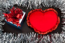 Valentine Gift Box With Heart Shape Toy On Wooden Background Wit Stock Image