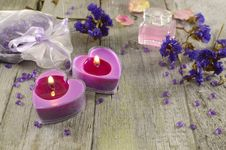 Free Lilac Candles With Blue Flowers Royalty Free Stock Photo - 36676215