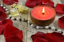 Free Red Candle With Jewelry Stock Image - 36676261