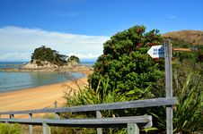 Beach Access Sign At Kaiteriteri Beach, New Zealand. Stock Image