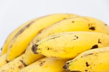 Free Close Up Banana On White Backgound Stock Photography - 36678282