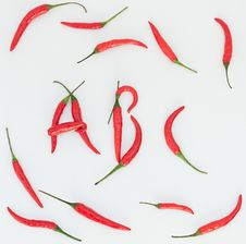 Free Red Hot Chilli Spelling Word ABC Stock Photography - 36678312