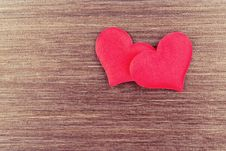 Free Two Red Hearts On A Wooden  Board Stock Photos - 36679073