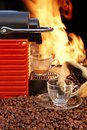 Free Coffee Machine With Two Cups  Of Espresso And Fire Background Royalty Free Stock Photo - 36681075