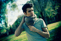 Free Attractive Young Handsome Man, Model Of Fashion In The Park Royalty Free Stock Image - 36687086