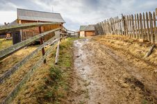 Dirty Road In Carpathian Village Stock Photography