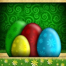 Free Happy Easter - Colored Eggs On Patterned Background Royalty Free Stock Images - 36685479