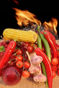Free Still Life With Vegetables And Fire XXXL Royalty Free Stock Photo - 36685685
