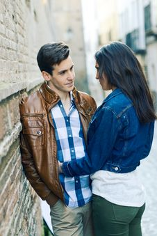 Cheerful Young Couple On A City Street Royalty Free Stock Photo