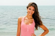 Free Beautiful Woman With Long Pink Dress On A Tropical Beach Stock Photography - 36687522