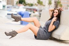 Free Happy Girl Model Of Fashion With High Heels Sitting On The Floor Stock Image - 36687921