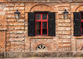 Free Old Window Frame On The Wall With Lantern Stock Photos - 36696263