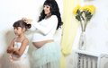 Free Beautiful Pregnant Woman With Her Little Funny Daughter Stock Photos - 36696773