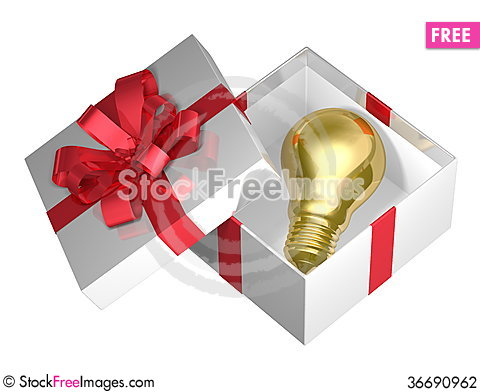 Free Golden Light Bulb In White Open Gift Box With Red Bow Stock Photography - 36690962