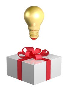 Free Golden Light Bulb Above White Gift Box With Red Bow Royalty Free Stock Image - 36690326