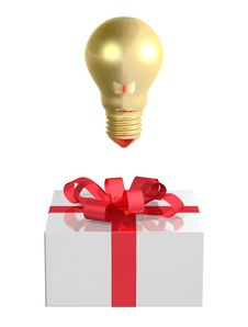 Free Golden Light Bulb Above White Gift Box With Red Bow. Front View Royalty Free Stock Image - 36690376