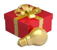 Free Golden Light Bulb Near Red Gift Box With Golden Bow Stock Photo - 36690510