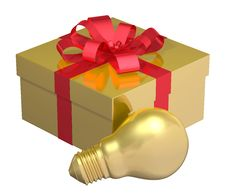 Free Golden Light Bulb Near Golden Gift Box With Red Bow Stock Photography - 36690672
