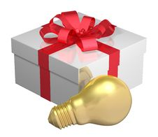 Free Golden Light Bulb Near White Gift Box With Red Bow Royalty Free Stock Photos - 36690728