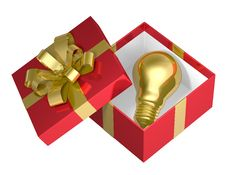 Free Golden Light Bulb In Red Open Gift Box With Golden Bow Stock Images - 36690784