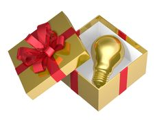 Free Golden Light Bulb In Golden Open Gift Box With Red Bow Royalty Free Stock Images - 36690919