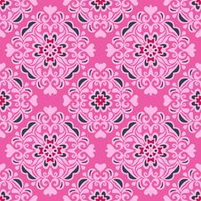 Free Seamless Pattern Pink Flower Vector Design Stock Images - 36691624
