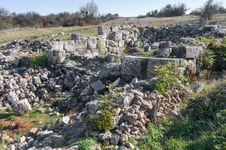 Ruins Of Of An Ancient Fortress On A Plateau Mangup Kale. Ukraine, Crimea Stock Photos