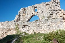 Ruins Of Of An Ancient Fortress On A Plateau Mangup Kale. Ukraine, Crimea Stock Photo