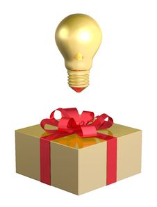 Free Golden Light Bulb Above Golden Gift Box With Red Bow Stock Photos - 36694323