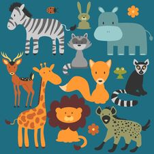 Free Set Of Cute Wild Animals Royalty Free Stock Images - 36697649