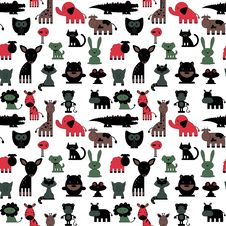 Free Seamless Pattern With Cute Various Colorful Animals Royalty Free Stock Images - 36697659