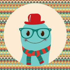 Free Hipster Retro Monster Card Design Royalty Free Stock Image - 36698736